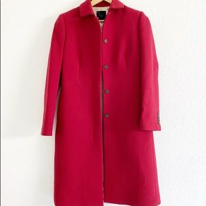 J.CREW Wool Blend Lined Red Trench Coat Pea Sz 0